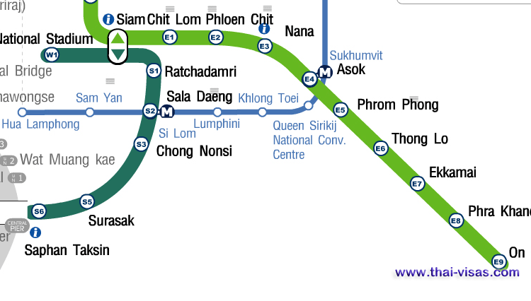 BTS Asok Station Map
